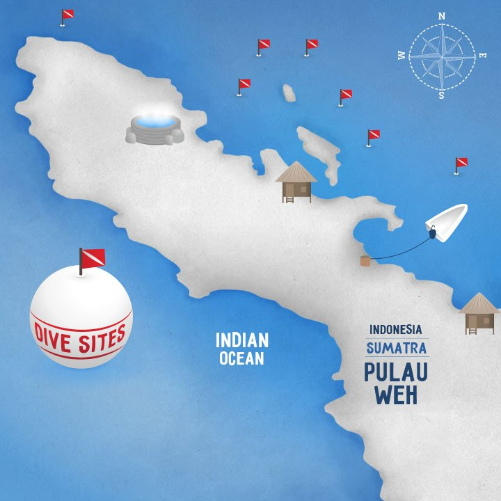 INteractive map · Pulau Weh dive sites map · Koimakoi · Serena Perrotta · Graphic, web design and photography